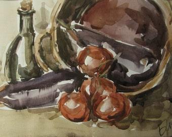 Still life with eggplants - still life - original watercolor