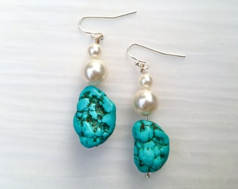"Turquoise and Pearl Sterling Silver Dangle Earrings, ""Evelyn"""