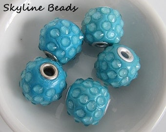 Indonesia Beads, Handmade, Turquoise, Clay with Rhinestones and a  Brass Core, 18mm x 16mm