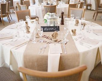 Modern Rustic Burlap Table Runner, Industrial Wedding