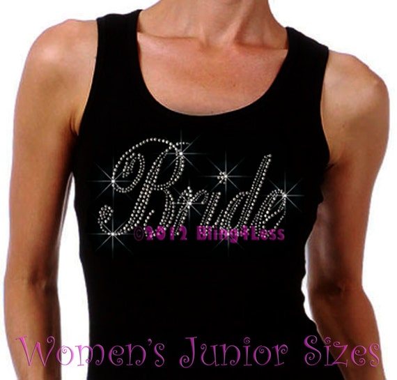 Bride Large Iron On Rhinestone Ribbed Tank By