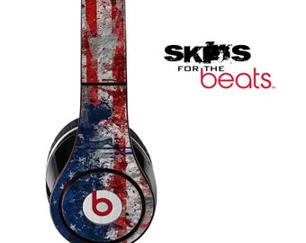Grungy American Flag Skin for the Beats by Dre Studio, Solo, MIXR, Pro or Wireless Version Headphones