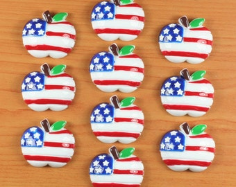 10pcs American US Flag Apple Stars Stripes 4th of July Patriotic Resin Cabochon Flatback Flat Back Hair Bow Center Crafts DIY