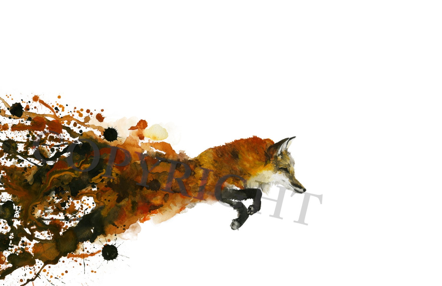 Fox Watercolor Print by TCsART on Etsy: https://www.etsy.com/listing/154693627/fox-watercolor-print