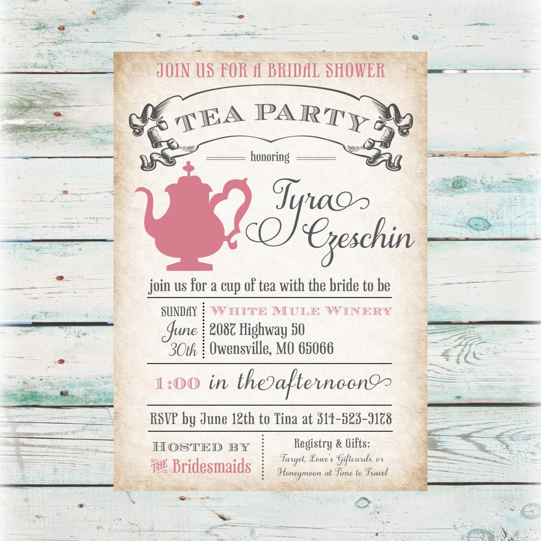 Tea party bridal shower invitation diy digital file for Bridal shower party invitations