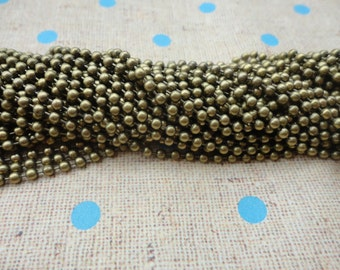 100pcs Antique bronze Ball Chain Necklaces with connectors.. 27.5 inch Chain 2.4 mm wholesale--MN43