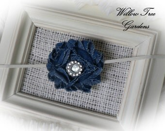 Denim Baby Headband..Shabby Chic . . . Baby Headband . . Frayed Rose Headband . . . Newborn/Infant/Toddler/Girl/Adult Headband