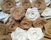 Shabby chic Burlap Roses set of 5
