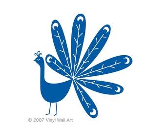 Peacock Vinyl Decal size LARGE - Home Decor, Children's Room Decor, Nursery Design, Animal Decal, Office Decor,