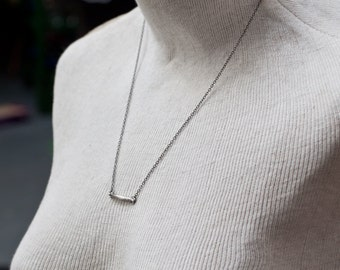 bar necklace - simple sterling silver necklace - fine silver necklace - everyday necklace - layering necklace - layering jewelry