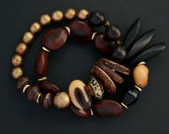 set of two beaded bracelets with natural seeds, nuts and coconut shell - natural jewelry - ethnic - stack bracelets