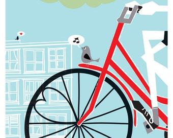Silkscreen Bicycle Print Bike Poster - Screenprint Bike Art Bike Print - Going To See My Baby Blue - Bike Lovers Love Art Print
