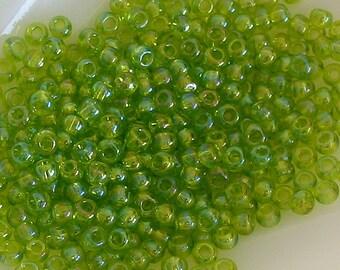 Glass seed beads size 6 toho light peridot green (S17)