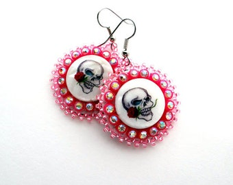 Sparkly Pink Skull Earrings