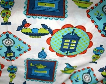 Turquoise Blue Kitchen Print- Vintage Cotton Blend Fabric- Yardage- Authentic 1970's