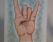 Hand art, symbol art, ORIGINAL drawing, hand drawn card, small format art, blank note card, humor art, friendship card