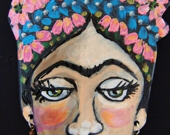 Blue Braid Frida Kahlo Hanging Collectors Ornament - Embellished Acrylic Hand Painted