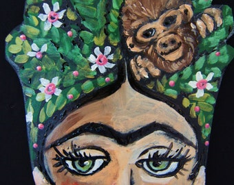 Monkey Hair Frida Kahlo Hanging Collectors Ornament - Embellished Acrylic Hand Painted
