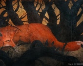 A Fox Through A Dark Wood - First Edition Re-Painted Giclee