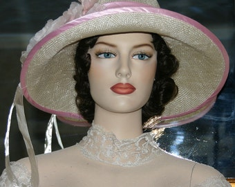 "Flapper Hat Downton Abbey Hat, Gatsby Hat Edwardian Tea Hat Easter Hat ""Miss Emily"" Pink & Natural Church Hat"