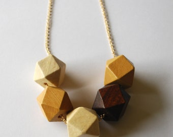 Faceted Geometric Necklace - 5 Golden Honey