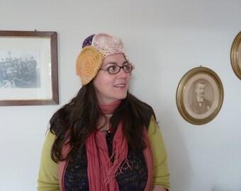 SALE - Hat made from handspun yarn, freeform crochet