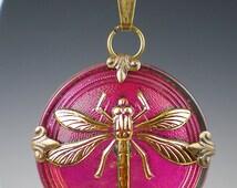 Dragonfly Necklace Raspberry Pink Czech Glass Button Oxidzed Brass Vintage Inspired Jewelry