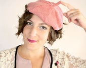 Spring Clearance - Pink and Gray Herringbone Ms. Molly Beret // Fall Fashion Hat, Fascinator Beret