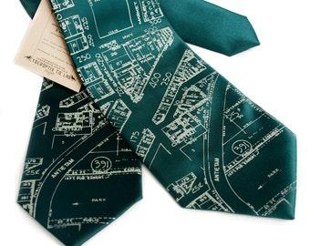 "Detroit map necktie. ""Eastern Market"" tie. Sage print on emerald green microfiber. Silkscreen design. Choose standard or narrow width."