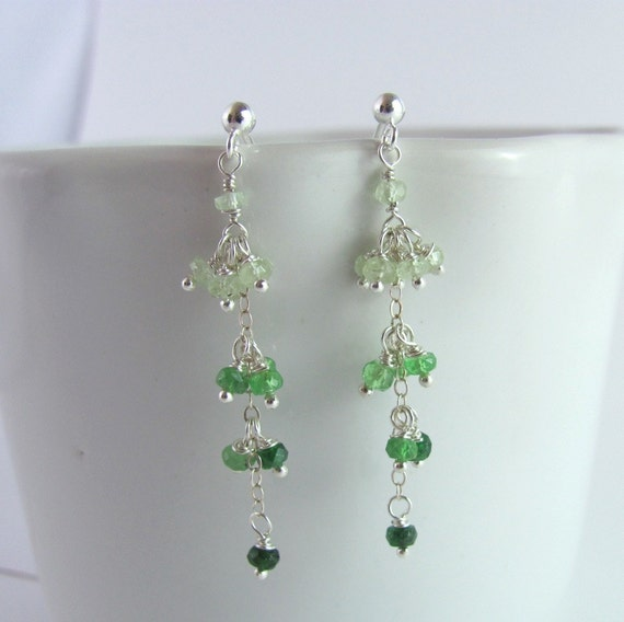 Emerald Green Ombre Gemstone Cluster Earrings - Tsavorite and Sterling Silver