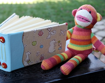 Whimsical Kawaii Woodland Creature Art Journal Blank Book Leather and Fabric from Japan