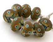 Handmade Lampwork Glass Bead Set GREEN and RAKU brown Matte Offset Dots - taneres