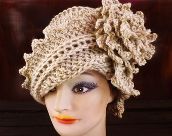 Crochet Cloche Hat 1920s, Womens Crochet Hat, Womens Hat 1920s, Bone Beige Hat, Lauren 1920s Cloche Hat Crochet Flower