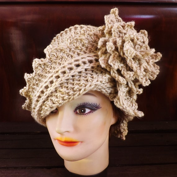 Crochet Hat Womens Hat, Womens Crochet Hat, Cloche Hat Crochet Flower, Bone Hat, LAUREN Cloche Hat, Crochet Hat, Formal Hat
