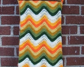 Comfy Cozy Vintage Chevron Yellow Green White Orange Afghan