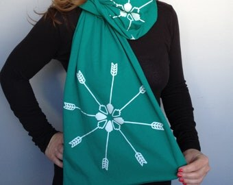 Arrowcrest Cotton Jersey Scarf- Screenprinted Turquoise