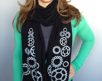 Bicycle Cog Jersey Cotton Scarf- Screenprinted, Extra-long Bike Scarf