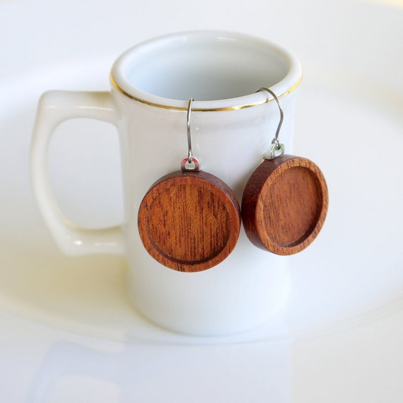 Earring Bezels - Wooden Bases for Earrings - Earrings - Handmade by Artbase - Mahogany - 18 mm Int. Circle - French Hypoallergenic Earwires
