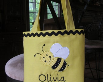 TOTE BAG Busy Little Bee Custom Designed and Personalized Toddler or Big Kid Tote