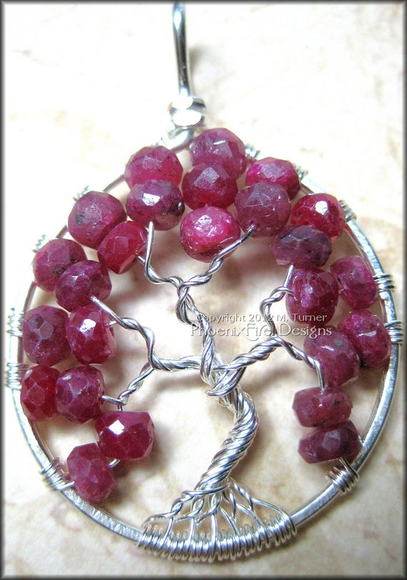 July Ruby Tree - Tree of Life Pendant Genuine Precious Ruby Gemstone Wire Wrapped Sterling Silver Red Gem Birthstone Birthday