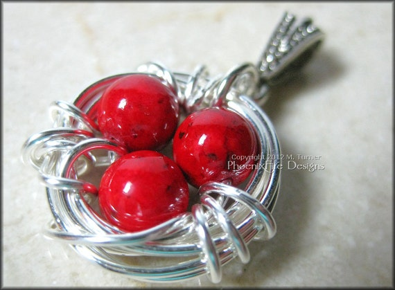Bird Nest Pendant with Ruby Red Coral Eggs in Sterling Silver Wire Wrapped Mother's Day Mom Mum