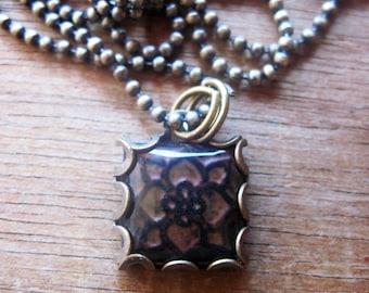 Brown Celtic Ceramic tile design necklace, Irish Folk art, hand made jewelry, British Isle Church tile