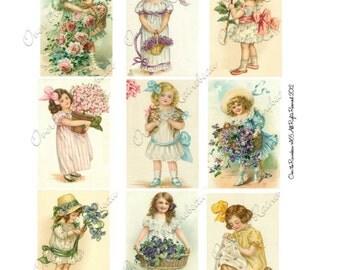 Vintage Flower Garden Girls Roses Violets Digital Collage Sheet 1165 Instant Download