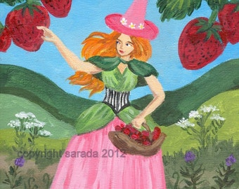 Strawberry Valentine redhead witch spring summer art print reproduction 5 x 7 nature pagan