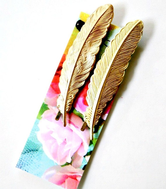 Golden Feather Bobby Pin Set