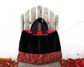 Wool bag large purse black vintage fabric tote corduroy red grey button detail memake handmade fashion handbag