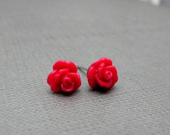 Petite Deep Red Roses Stud Earrings // Red Acrylic Roses // Rhodium Posts // Gift under 10