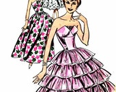 1960s Womens Petal Bodice Evening Dress Butterick 9624 Vintage Sewing Pattern Tiered Ruffled Dress Flounced Skirt Size 12 Bust 32