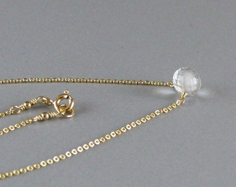 Tiny Rock Crystal Necklace Candy Kiss Briolette Solitaire Gold Chain or Sterling Silver Chain DJStrang Minimalist Boho