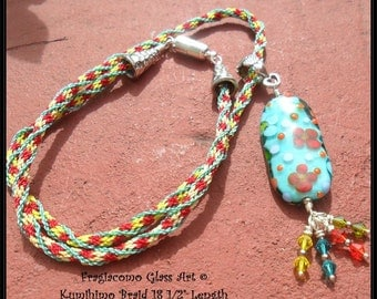 Lampwork Kumihimo Necklace, Teal Orange Yellow Green, Handmade SRA LETEAM Glassymom